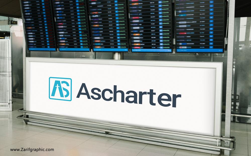 طراحی حرفه ای لوگو آژانس هواپیمایی آس چارتر در ظریف گرافیک