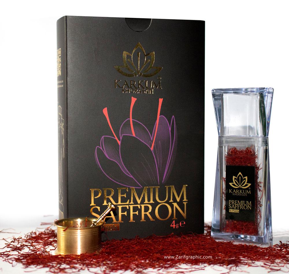 طراحی بسته بندی زعفران کرکوم ایتالیا