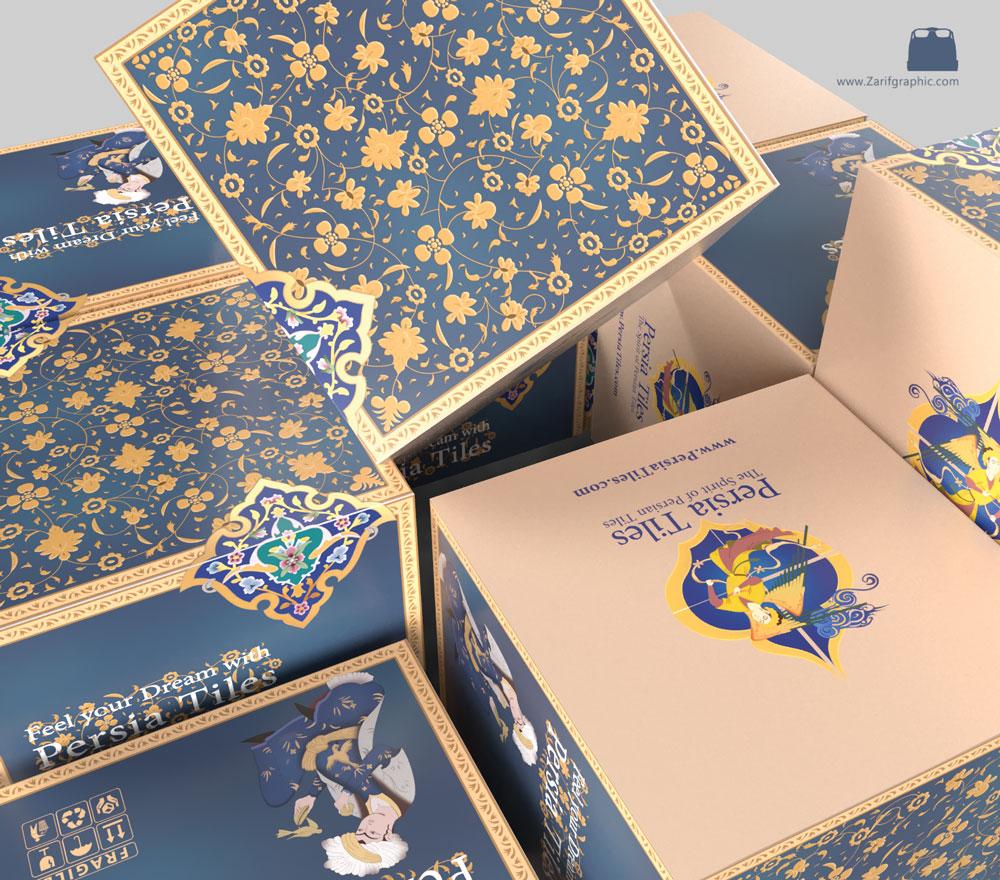 طراحی بسته بندی کاشی ایرانی