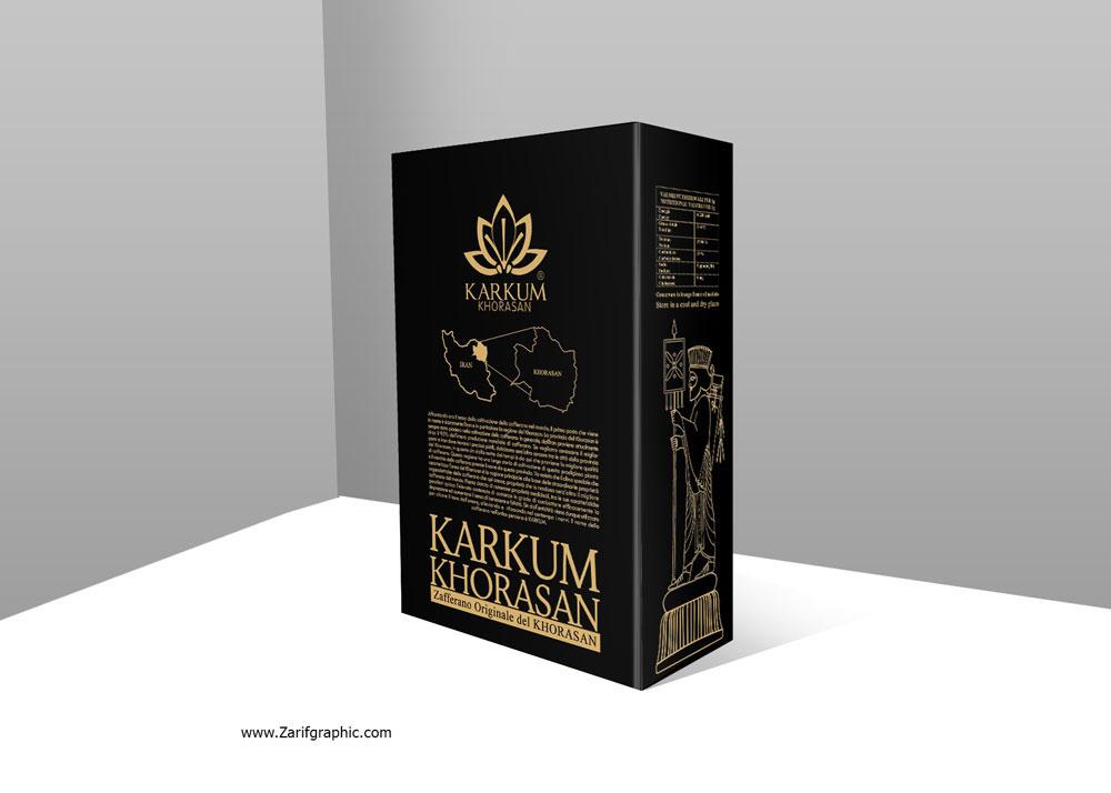 طراحی حرفه ای بسته بندی زعفران کرکوم در ایتالیا با ظریف گرافیک