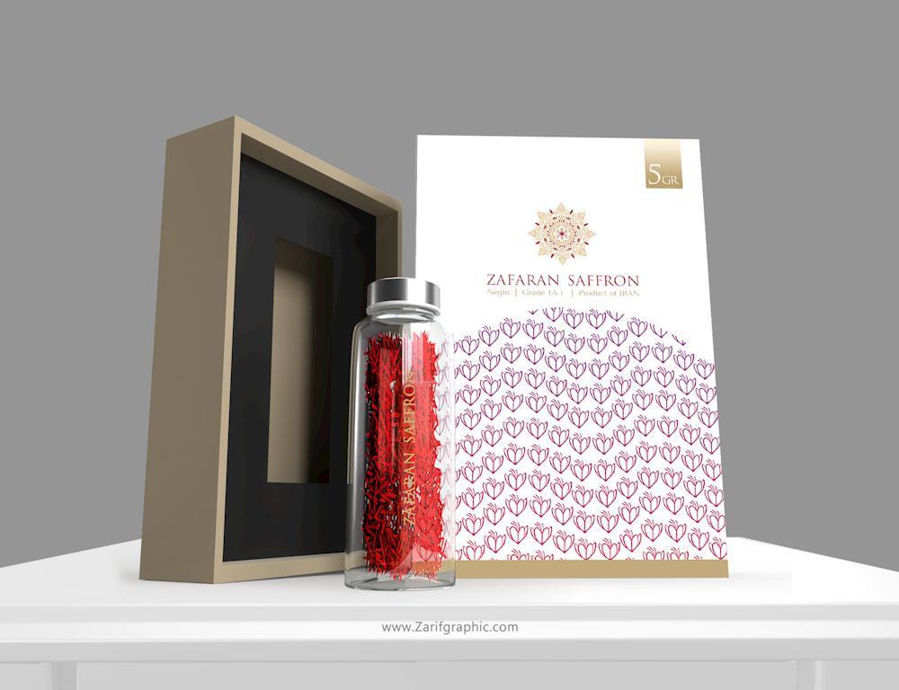 saffron packaging design in zarifgraphic