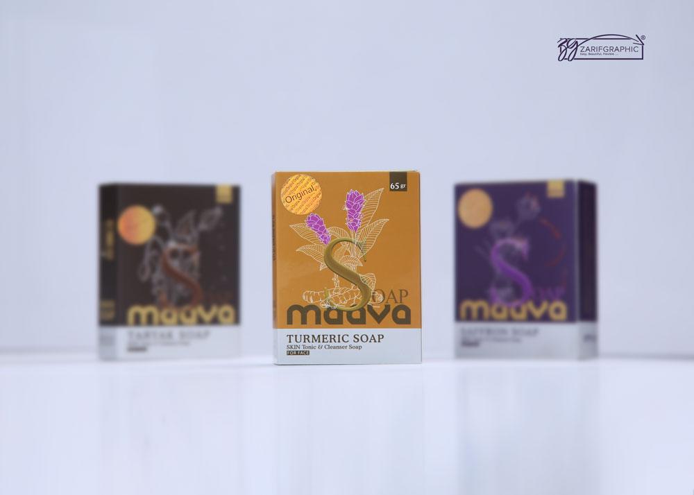 طراحی حرفه ای بسته بندی صابون درمانی ماوا در مشهد با ظریف گرافیک