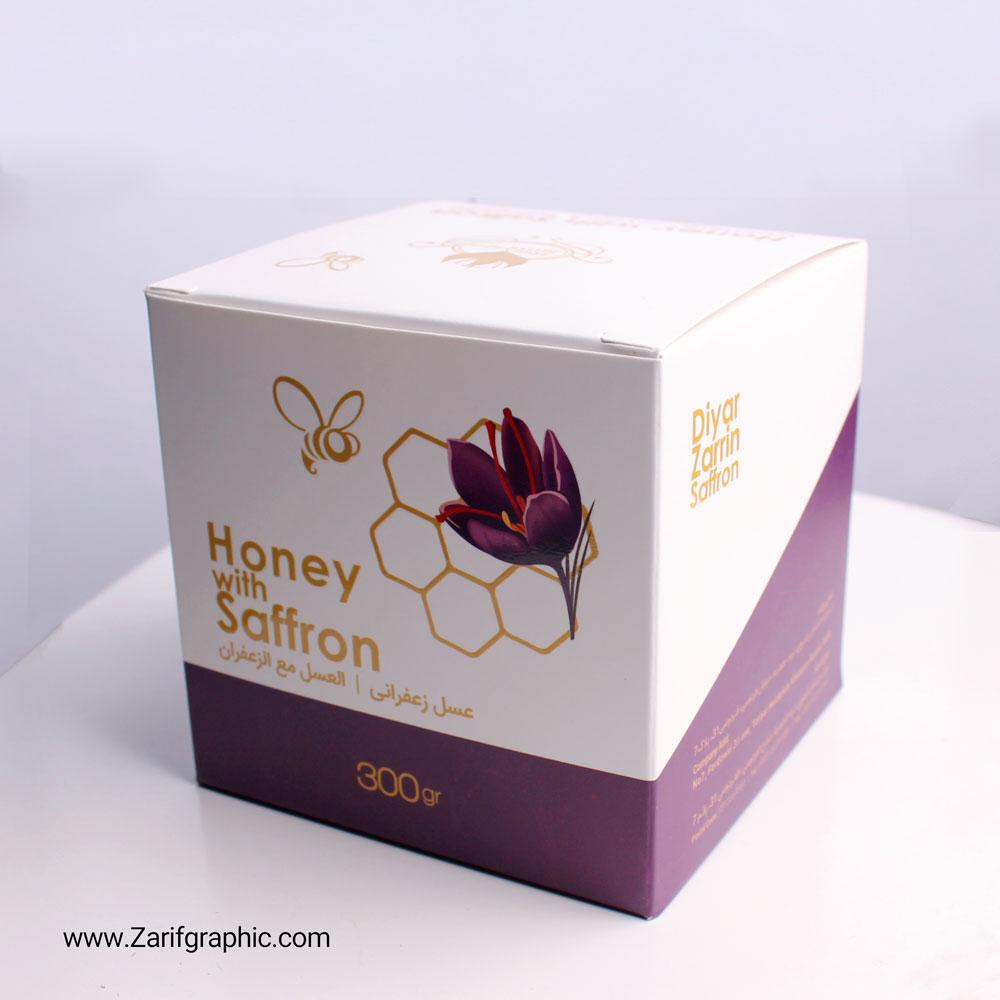 طراحی لبل و بسته بندی عسل زعفرانی