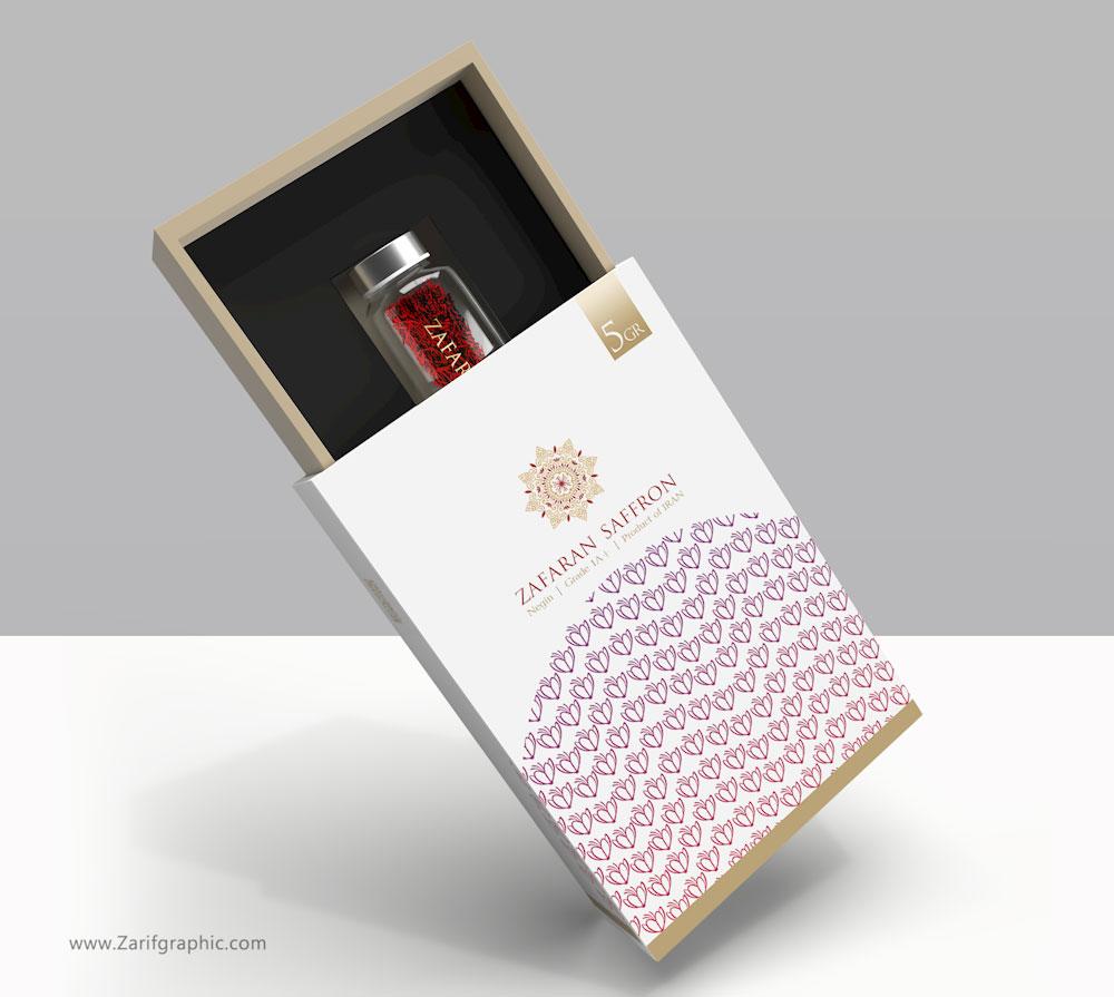 طراحی شیک بسته بندی زعفران فرانسه در ظریف گرافیک