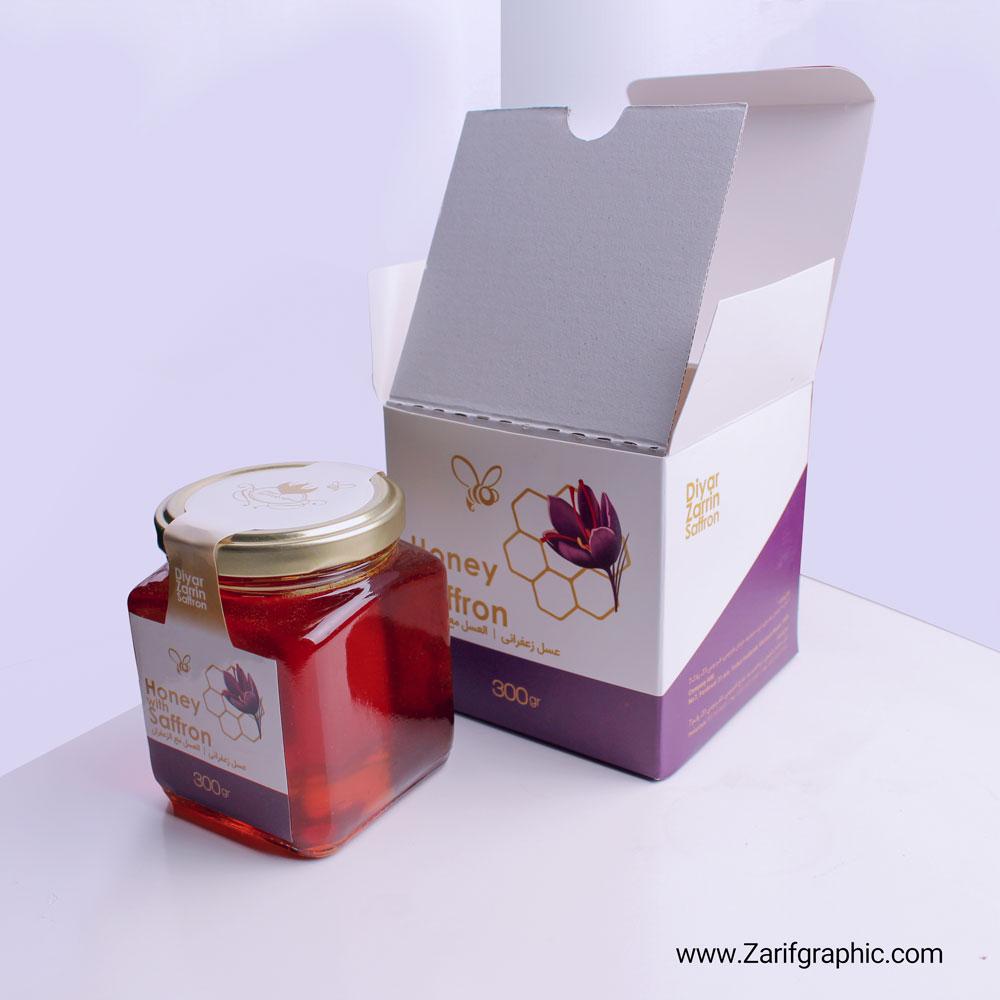 طراحی حرفه ای لیبل و بسته بندی عسل زعفرانی