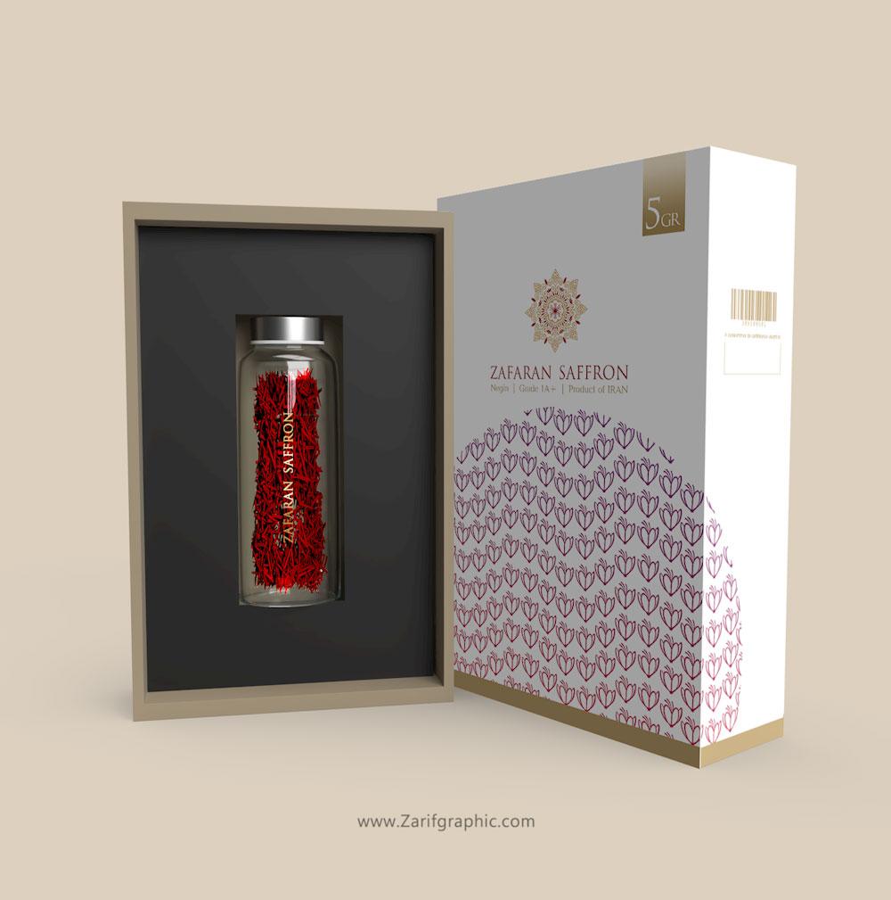 luxury saffron packaging design in zarifgraphic