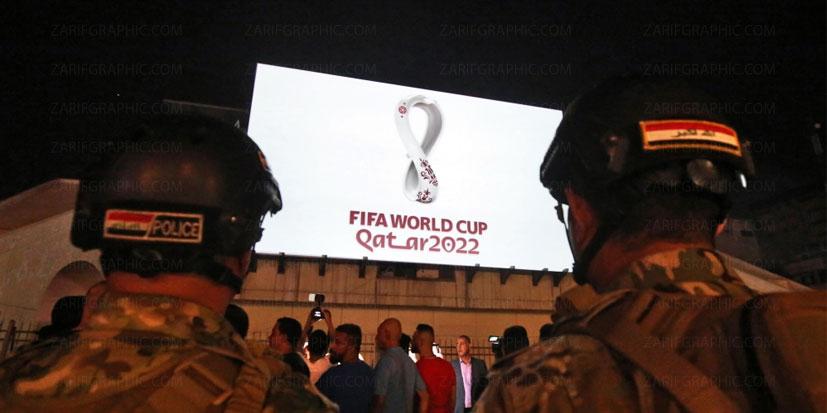 رو نمایی از لوگو مسابقات فوتبال جام جهانی 2022