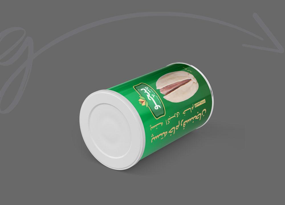 طراحی بسته بندی قوطی برای شرکت تولیدی پسته پیچو