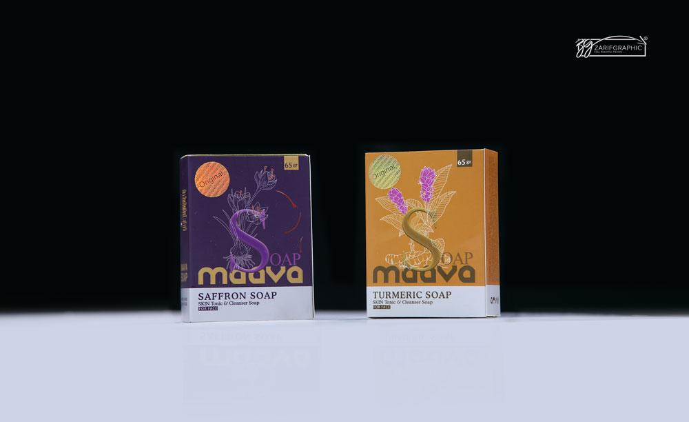 طراحی بسته بندی صابون های آرایشی بهداشتی ماوا