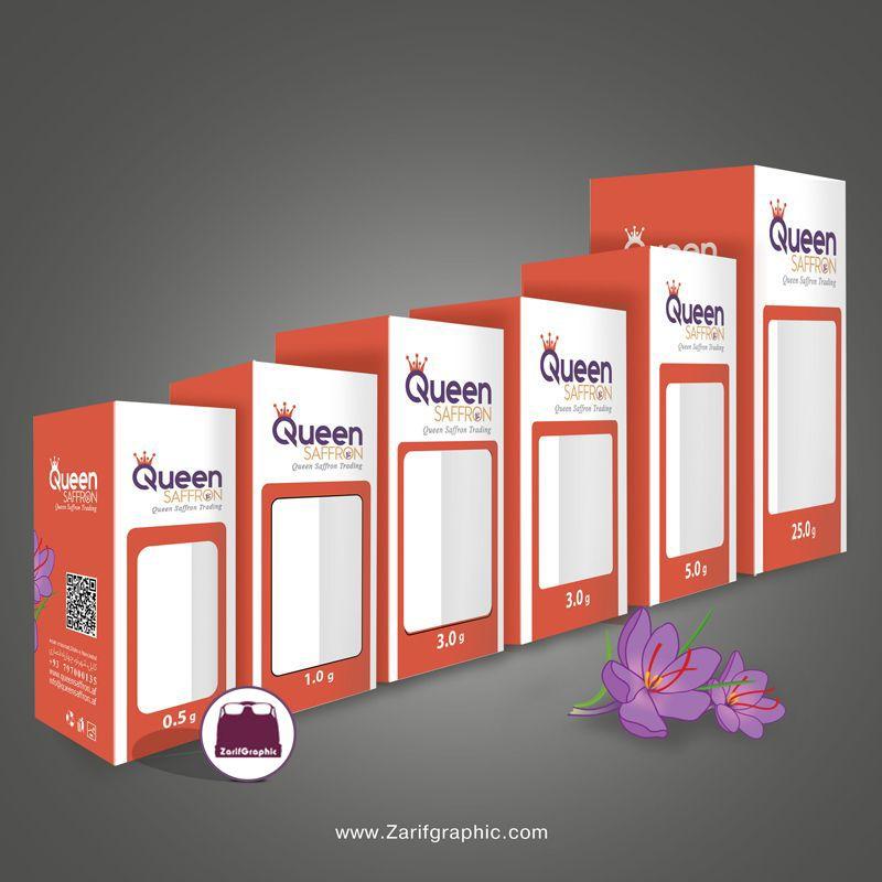 طراحی بسته بندی زعفران در سایزهای مختلف